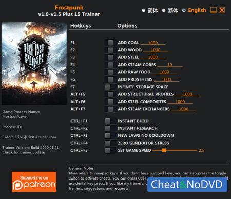 Frostpunk трейнер Trainer +15 v1.5 {FLiNG}