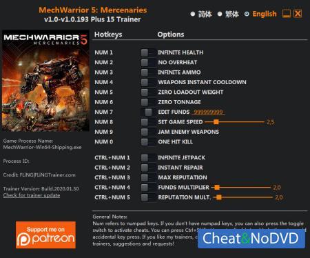 MechWarrior 5: Mercenaries трейнер Trainer +15 v1.0.193 {FLiNG}