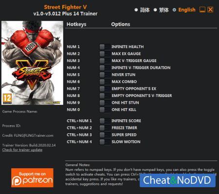 Street Fighter 5: Champion Edition трейнер Trainer +14 v5.012 {FLiNG}