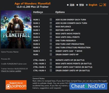 Age of Wonders: Planetfall трейнер Trainer +15 v1.200 {FLiNG}