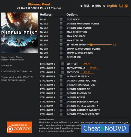 Phoenix Point трейнер Trainer +23 v1.0.56083 {FLiNG}