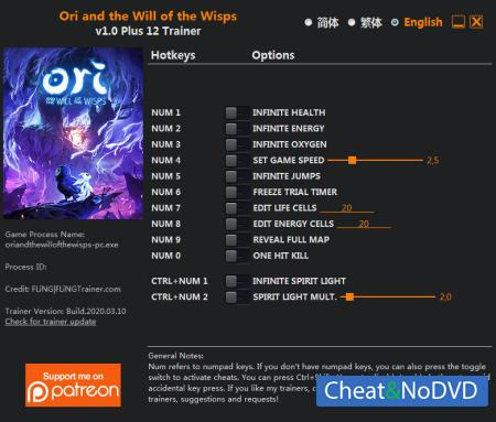 Ori and the Will of the Wisps трейнер Trainer +12 v1.0 {FLiNG}