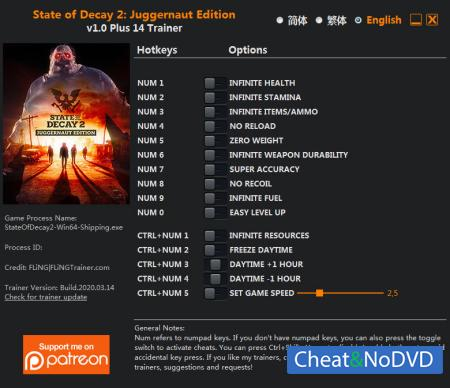 State of Decay 2: Juggernaut Edition трейнер Trainer +14 v1.0 {FLiNG}