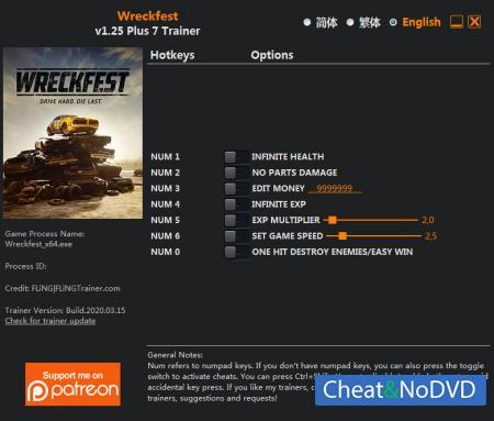 Wreckfest трейнер Trainer +7 v1.25 {FLiNG}
