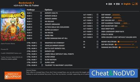 Borderlands 3 трейнер Trainer +31 v1.0.7 {FLiNG}