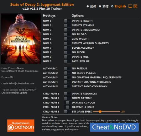 State of Decay 2: Juggernaut Edition трейнер Trainer +19 v15.1 {FLiNG}