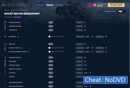 Tom Clancy's Ghost Recon: Breakpoint трейнер Trainer +17 v29.03.2020 {MrAntiFun}