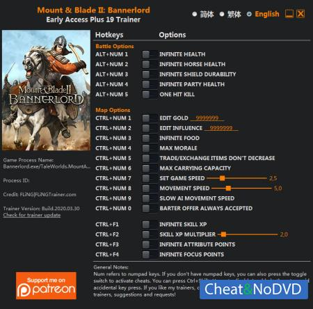 Mount and Blade 2: Bannerlord трейнер Trainer +22 v2020.03.30 {FLiNG}