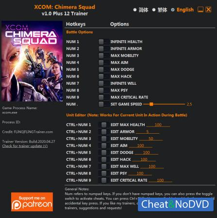 XCOM: Chimera Squad трейнер Trainer +12 v1.0 {FLiNG}