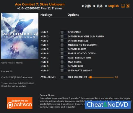Ace Combat 7: Skies Unknown трейнер Trainer +11 v2020.05.02 {FLiNG}