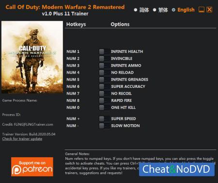 Call of Duty: Modern Warfare 2 - Campaign Remastered трейнер Trainer +11 v1.0 {FLiNG}