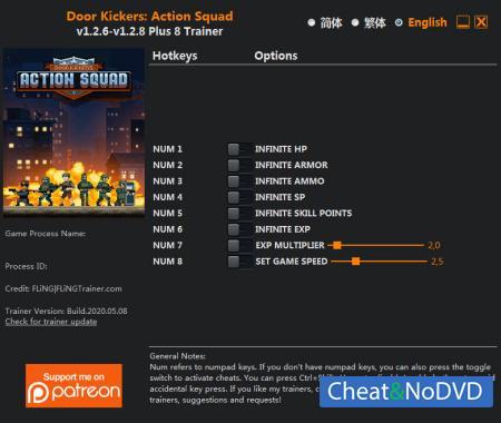 Door Kickers: Action Squad трейнер Trainer +8 v1.2.8 {FLiNG}