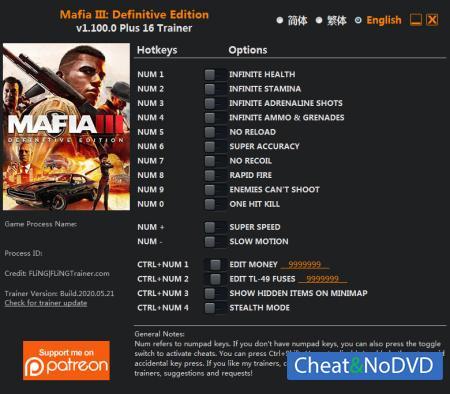Mafia 3 Definitive Edition трейнер Trainer +16 v1.100.0 {FLiNG}
