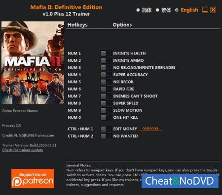 Mafia 2 Definitive Edition трейнер Trainer +12 v1.0 {FLiNG}