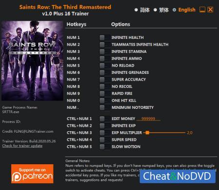 Saints Row: The Third Remastered трейнер Trainer +16 v1.0 {FLiNG}