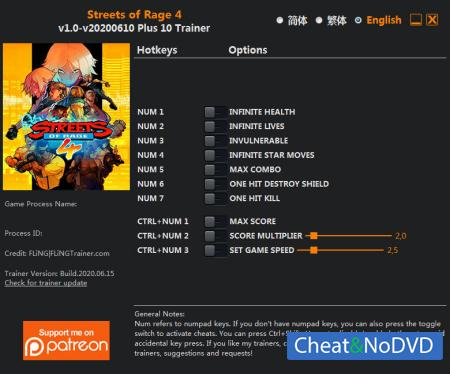 Streets of Rage 4 трейнер Trainer +10 v2020.06.10 {FLiNG}