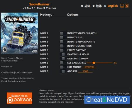 SnowRunner трейнер Trainer +9 v5.1 {FLiNG}