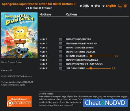 SpongeBob SquarePants: Battle for Bikini Bottom - Rehydrated трейнер Trainer +8 v1.0 {FLiNG}