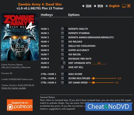 Zombie Army 4: Dead War трейнер Trainer +13 v0.1.861701 {FLiNG}