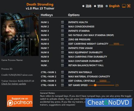 Death Stranding трейнер Trainer +15 v1.0 {FLiNG}