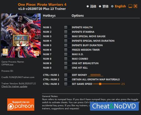 One Piece: Pirate Warriors 4 трейнер Trainer +13 v2020.07.22 {FLiNG}