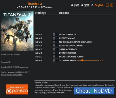 Titanfall 2 трейнер Trainer +8 v2.0.11.0 {FLiNG}