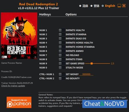 Red Dead Redemption 2 трейнер Trainer +12 v1311.12 {FLiNG}