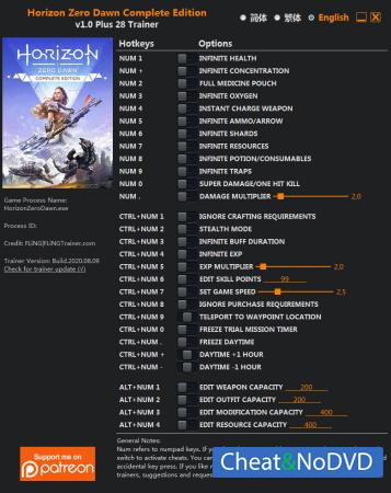 Horizon Zero Dawn: Complete Edition трейнер Trainer +28 v1.0 {FLiNG}