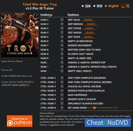 Total War Saga: Troy трейнер Trainer +20 v1.0 {FLiNG}