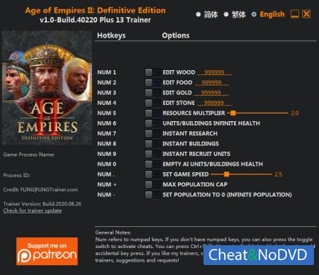 Age of Empires II: Definitive Edition трейнер Trainer +13 Build 40220 {FLiNG}
