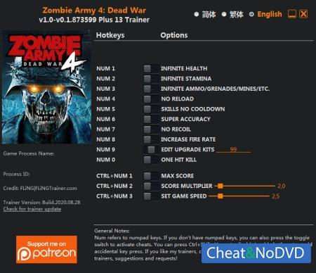 Zombie Army 4: Dead War трейнер Trainer +13 v0.1.873599 {FLiNG}
