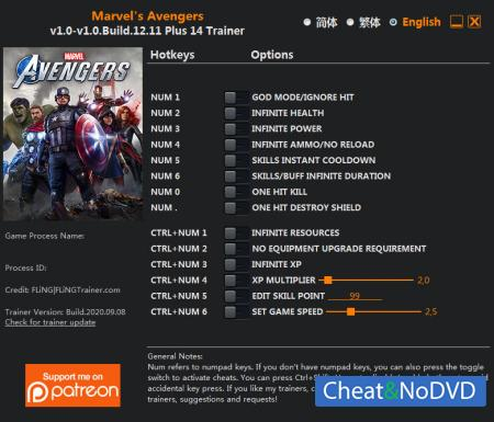 Marvel's Avengers трейнер Trainer +14 v1.0 Build 12.11 {FLiNG}