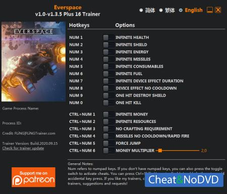 Everspace трейнер Trainer +16 v1.3.5 {FLiNG}