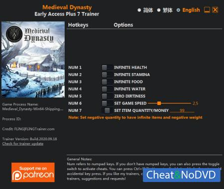 Medieval Dynasty трейнер Trainer +7 Early Access 2020.09.18 {FLiNG}