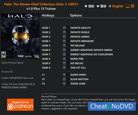 Halo: The Master Chief Collection трейнер Trainer +13 v2020.09.22 Halo 3: ODST {FLiNG}