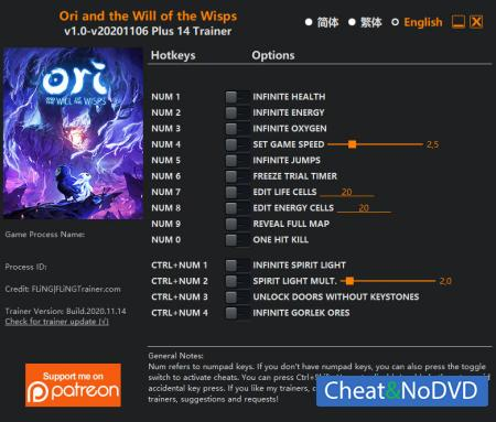 Ori and the Will of the Wisps трейнер Trainer +14 v2020.11.14 {FLiNG}