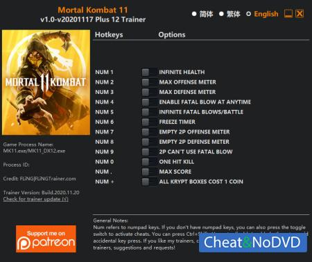 Mortal Kombat 11 трейнер Trainer +12 v2020.11.17 {FLiNG}
