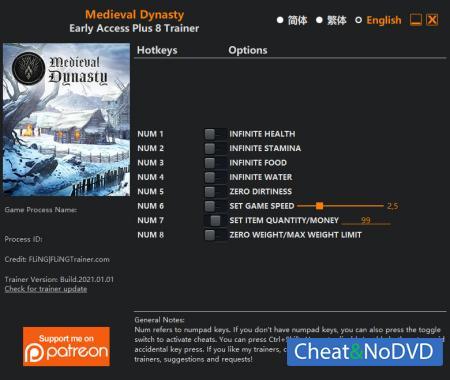 Medieval Dynasty трейнер Trainer +8 Early Access v0.3.0.2 {FLiNG}