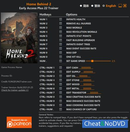 Home Behind 2 трейнер Trainer +22 Early Access 2021.01.25 {FLiNG}
