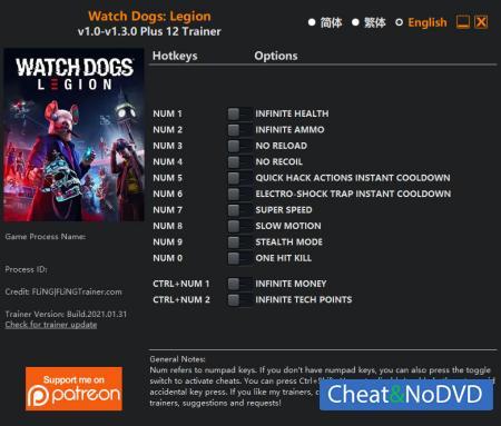 Watch Dogs: Legion трейнер Trainer +12 v1.3.0 {FLiNG}