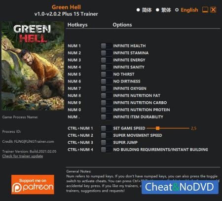 Green Hell трейнер Trainer +15 v2.0.2 {FLiNG}