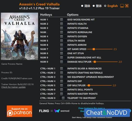 Assassin's Creed: Valhalla трейнер Trainer +19 v1.1.2 {FLiNG}