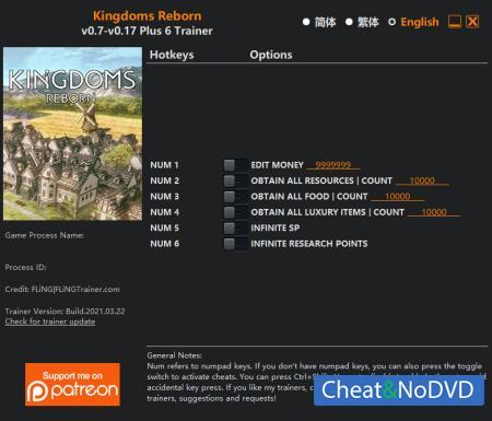 Kingdoms Reborn трейнер Trainer +6 v0.17 {FLiNG}