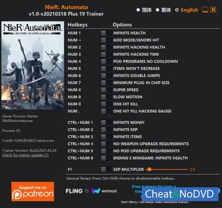 Nier Automata: Become as Gods Edition трейнер Trainer +19 v2021.03.18 {FLiNG}