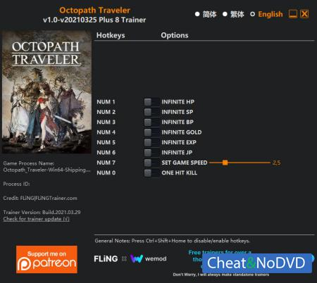 Octopath Traveler трейнер Trainer +8 v2021.03.25 {FLiNG}