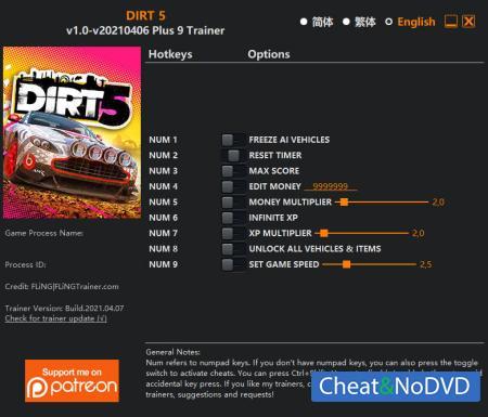DIRT 5 трейнер Trainer +9 v2021.04.06 {FLiNG}