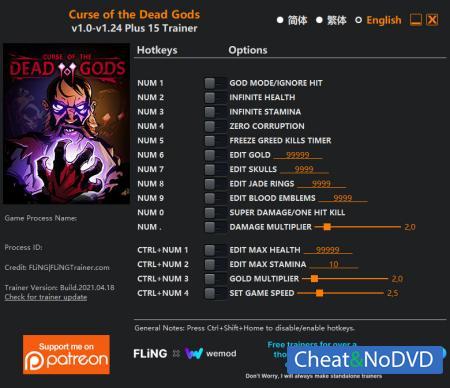 Curse of the Dead Gods трейнер Trainer +15 v1.24 {FLiNG}