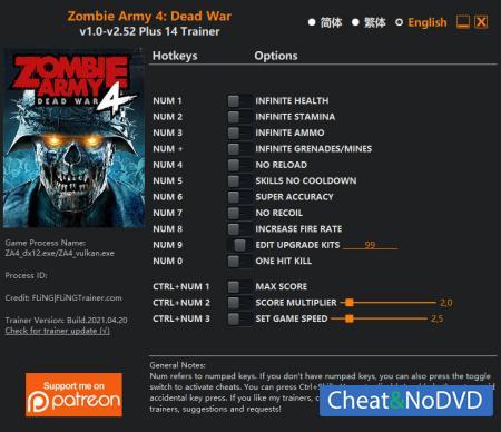 Zombie Army 4: Dead War трейнер Trainer +14 v2.52 {FLiNG}