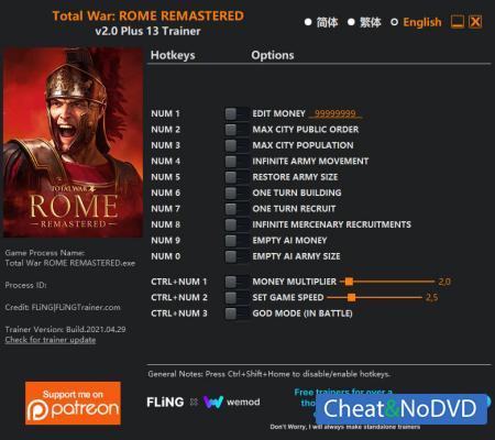 Total War: Rome Remastered трейнер Trainer +13 v2.0 {FLiNG}