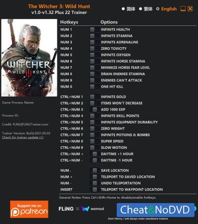 The Witcher 3: Wild Hunt трейнер Trainer +22 v1.32 {FLiNG}